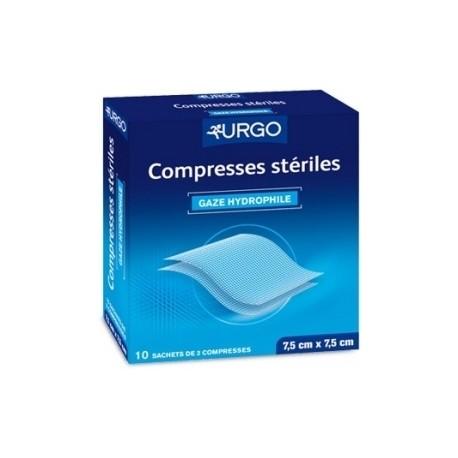 Urgo Compresses de gaze stériles 7,5 cm x 7,5 cm 10 sachets