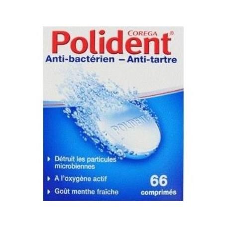 Polident nettoyant anti-bactérien 66 comprimés