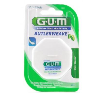 GUM butlerweave 1855 fil dentaire ciré menthe 55m