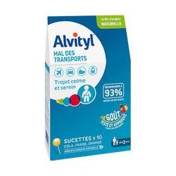 ALVITYL MAL des TRANSPORT 10 SUCETTES