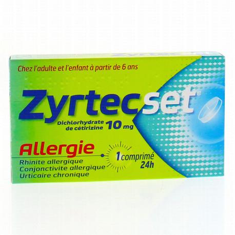 ZYRTECSET 10mg comprimé pelliculé sécable