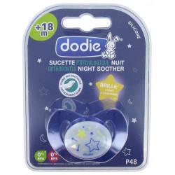 DODIE Sucette Physiologique Nuit Silicone 18 Mois et + N°P48 - Modèle : Étoiles ou Chat