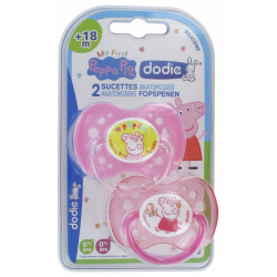 DODIE Peppa Pig 2 Sucettes Anatomiques Silicone 18 Mois et + - Modèle : N°A80 : Peppa