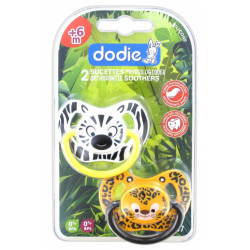 DODIE Duo Jungle 2 Sucettes Physiologiques Silicone 6 Mois et + N°P67