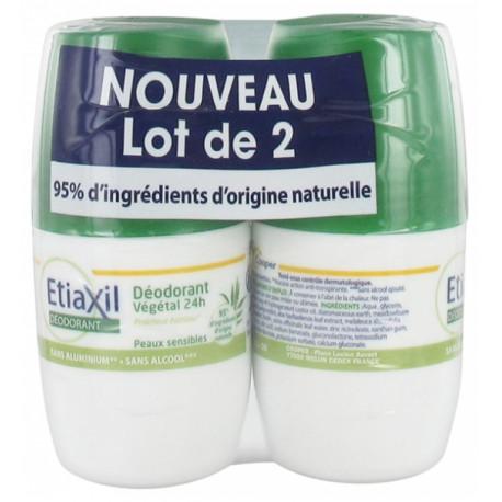 ETIAXIL Déodorant Végétal 24H Roll-On Lot de 2 x 50 ml