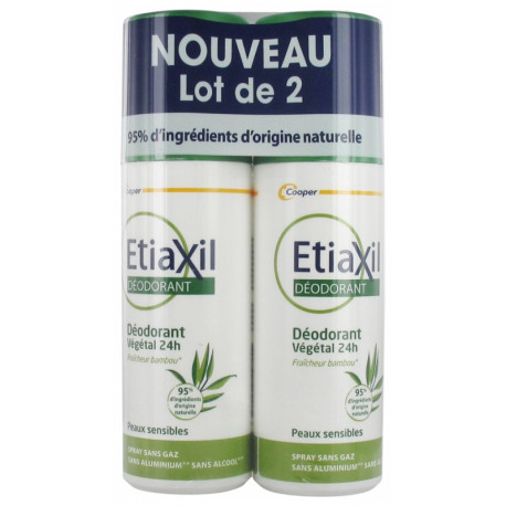 ETIAXIL Déodorant Végétal 24H Spray Lot de 2 x 100 ml