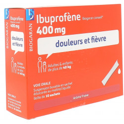 Ibuprofène 400mg suspension buvable Biogaran - boîte de 10 sachets - arôme fraise