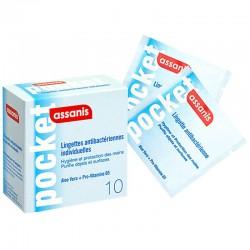 Assanis lingette pocket antibactérien mains 10 lingettes