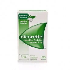 NICORETTE MENTHE FRAICHE 2mg SANS SUCRE gomme à mâcher médicamenteuse édulcorée au xylitol et à l'acésulfame potassique