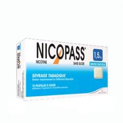 NICOPASS 1.5mg SANS SUCRE MENTHE FRAICHEUR pastille édulcorée à l'aspartam et à l'acésulfame potassique