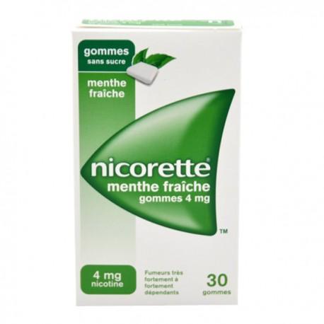 NICORETTE MENTHE FRAICHE 4mg SANS SUCRE gomme à mâcher médicamenteuse édulcorée au xylitol et à l'acésulfame potassique