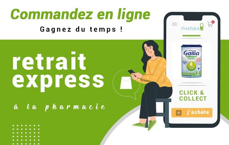 Commandez en ligne, retrait express en pharmacie